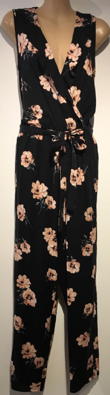 FRILLED WRAP FRONT BLACK/PINK FLORAL JUMPSUIT NEW SIZES 10-22